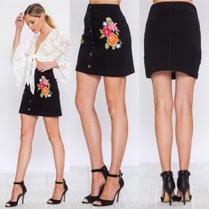Jealous Tomato Black Denim Embroidered Mini Skirt